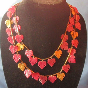 vintage pink lucite leaf necklace long chain